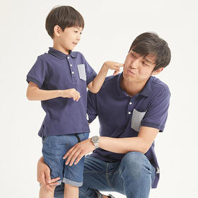 壹果Yiigoo 未来绅士撞色口袋亲子Polo衫
