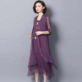 夏季新款民族风刺绣气质连衣裙两件套SS6600