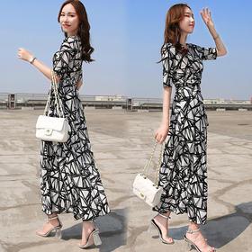 新款女装夏装修身高腰长款连衣裙女气质收腰中袖v领长裙大码YZ1605