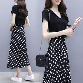 夏装两件套长款连衣裙女v领短袖波点不规则长裙套装YZ1688
