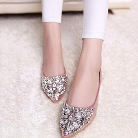 新款女单鞋尖头平底鞋时尚一脚蹬JW222