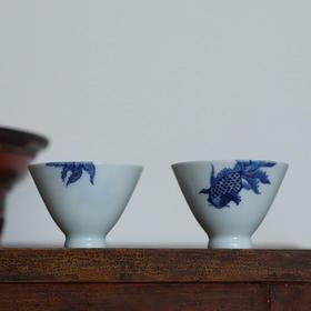 长物居 私款定制 手绘青花《金玉满堂》对杯品茗杯 景德镇陶瓷茶