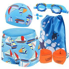 儿童装备泳裤男童女童防雾游泳镜泳帽平角裤小孩中大童游泳衣套装