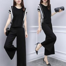 夏装两件套裤雪纺条纹短袖阔腿裤休闲时尚套装女YZ1695