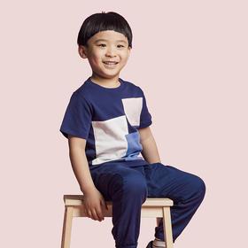 壹果Yiigoo 男童女童 色彩魔方几何撞色拼布T恤
