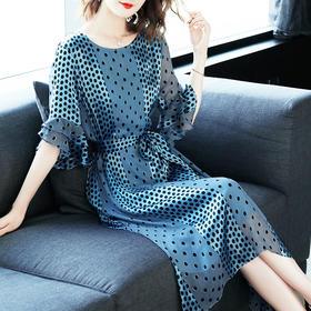 夏装2018新款名媛气质温柔仙女裙收腰波点显瘦裙子 XFL039