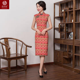 红黄碎花高档丝绸面料修身旗袍HJG8031