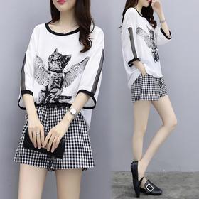洋气格子短裤套装2018夏季新款时髦雪纺上衣宽松显瘦时尚两件套XFL036