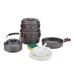 步林热卖野营锅野餐户外套锅硬质氧化铝野外野炊锅露营锅具
