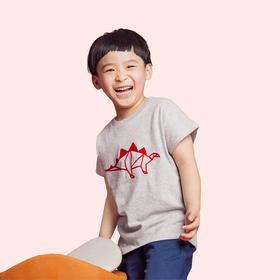 壹果Yiigoo 男童女童 恐龙时代手绘恐龙绣花T恤