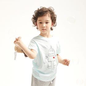壹果Yiigoo 男童女童 机器阿达竹节纱短袖T恤
