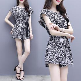 时尚女装夏季2018新款韩版雪纺上衣配洋气短裤套装显瘦气质两件套 XFL037