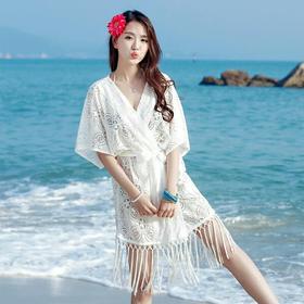 沙滩防晒开衫流苏蕾丝披肩女空调衫中长款夏季海边度假薄外搭上衣