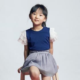 壹果Yiigoo 夏夜甜心 有机棉网纱拼接短袖T恤