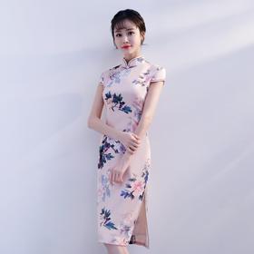沁馨芳华高档丝绸修身旗袍裙FMS20102