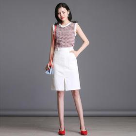 白色弹力牛仔裙高腰开叉裙摆半身裙包臀修身A字裙AL578