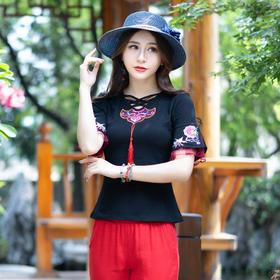 2018夏新款中国风文艺复古高级刺绣绑带精致T恤FMN3133