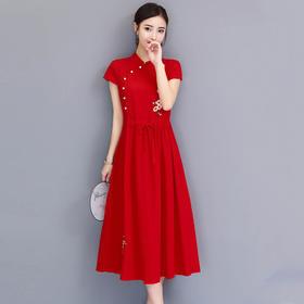 复古收腰显瘦短袖民族风绣花中长款连衣裙SS9076