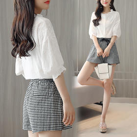 夏季镂空灯笼荷叶边袖衬衫配千鸟格短裤两件套 货号LWQY3273