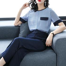 新款时尚条纹短袖T恤阔腿裤OL职业显瘦两件套HMJ9679