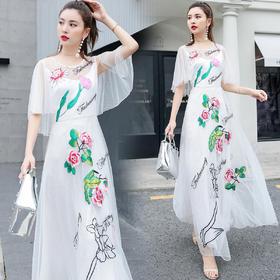 中国民族风牡丹刺绣显瘦改良气质连衣裙 货号RXF8065