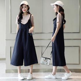 韩版七分背带宽松高腰七分阔腿背带裤两件套 货号LWQY3453
