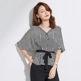 2018夏新款韩版蝙蝠袖V领收腰遮肚条纹雪纺衫(送抹胸)BZ88209
