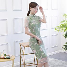 花枝绿高档蕾丝修身旗袍裙ZA