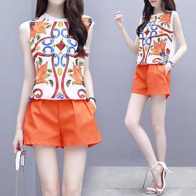 短裤套装女2018新款时尚印花韩版夏装洋气时髦阔腿雪纺显瘦两件套XFL052