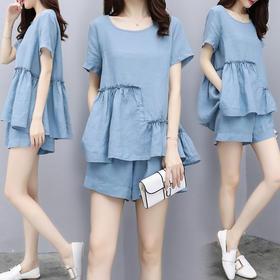 2018新款女装夏装两件套裤短袖上衣棉麻短裤休闲时尚套装女潮XFL051