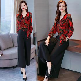 时尚印花系带长袖高腰阔腿裤两件套 货号GF521A