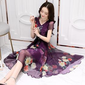 韩版气质淑女印花雪纺时尚修身显瘦不规则连衣裙HR88309
