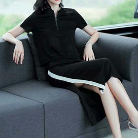 2018夏新款休闲时尚纯棉修身一步裙两件套OM9002