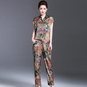 夏装民族风印花短袖衬衫裤子宽松休闲两件套 货号HXGLR8722
