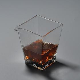 永利汇四方锤目纹耐热玻璃公道杯公杯小号茶海分茶器功夫茶具配件