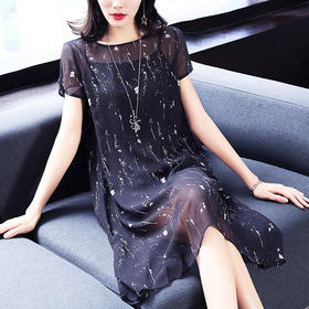 夏季新款女装通勤气质两件套圆领短袖透视宽松雪纺连衣裙XFL029