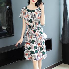 新款印花圆领优雅显瘦连衣裙HMJ9005