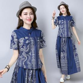 中式民族风短袖印花棉麻半身裙修身两件套 货号LZ3069