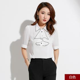 2018夏新款品牌韩版荷叶边短袖压褶百搭OL套头衬衫BZ88243