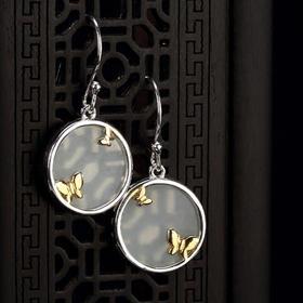s925纯银蝴蝶天然和田白玉复古百搭女士耳环CW015