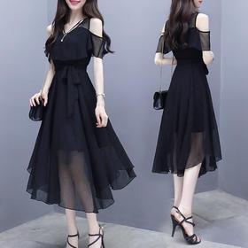名媛气质时尚露肩显瘦雪纺中长款连衣裙HMJ1816