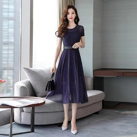 时尚圆领短袖系带收腰大摆型连衣裙 货号CPYY1859