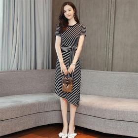 夏季短袖中长款H型套头圆领通勤条纹针织条纹不规则裙 货号ZCY7112