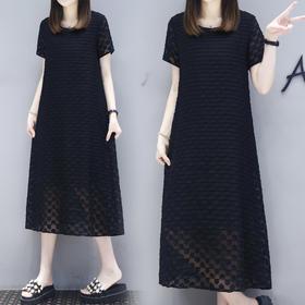 遮肚子藏肉黑色连衣裙2018夏季女装宽松显瘦裙子A字长裙XFL063