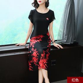 2018夏新款民族风时尚印花优雅显瘦圆领A字雪纺裙AHM38660