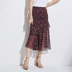 2018夏新款韩版时尚品牌印花显瘦高腰百搭雪纺鱼尾裙BZ88226