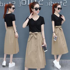 夏装2018新款女装短袖韩版显瘦中长款气质两件套装裙子XFL059