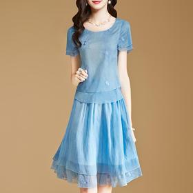 新款修身气质短袖雪纺连衣裙时尚套装裙HMJ8600