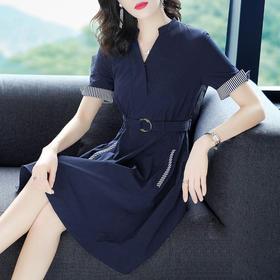 2018夏季新款时尚短袖V领显瘦气质大摆a字连衣裙OM130