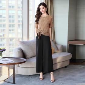夏装宽松雪纺高腰阔腿裤时髦两件套 货号CPYY18010
